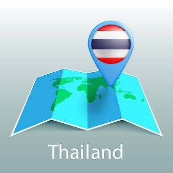 Thailand flag world map in pin with name of country on gray background
