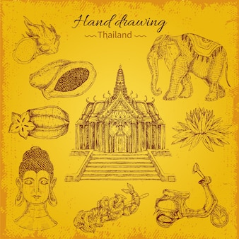 Thailand hand drawing elements