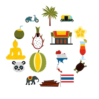 Thailand icons set, flat ctyle