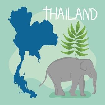 코끼리와 지도가 있는 태국 그림