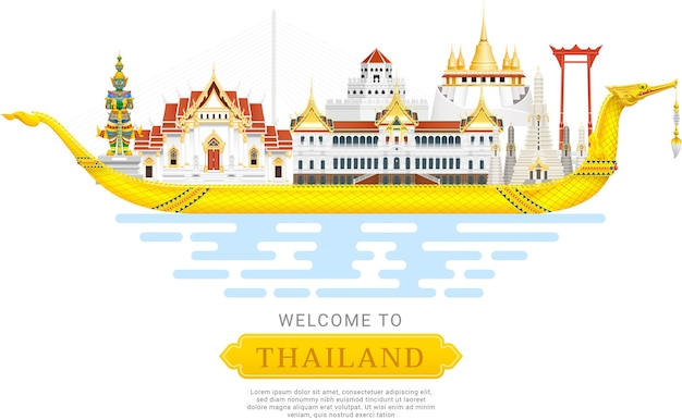 Thailand landmark travel background illustration