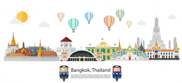 Thailand and landmarks and travel background