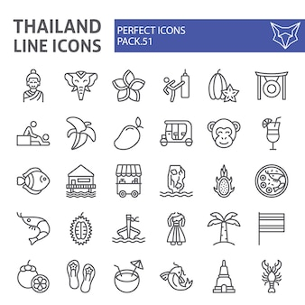 Thailand line icon set