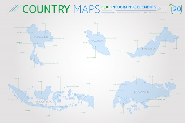 Thailand, malaysia, indonesia and singapore vector maps