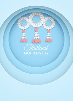 Thailand mother's day greeting card . design with garland origami for mother's day. thai traditional. paper art style.