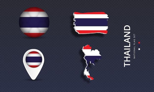 태국 국가 국가 웨이브 플래그 세트