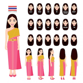 Thailand's female in traditional costume for animation. front, side, back, 3-4 view character, lip sync and poses. cartoon character flat
