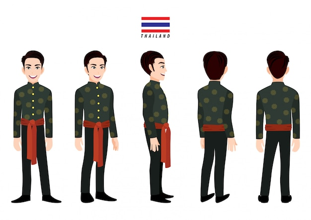 Thailand's male in traditional costume for animation. front, side, back, 3-4 view character. cartoon character flat