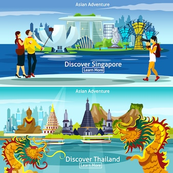 Thailand and singapore travel compositions