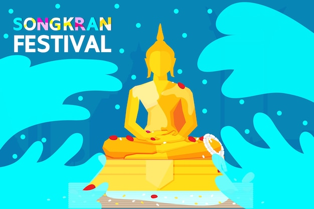 Thailand songkran festival illustration