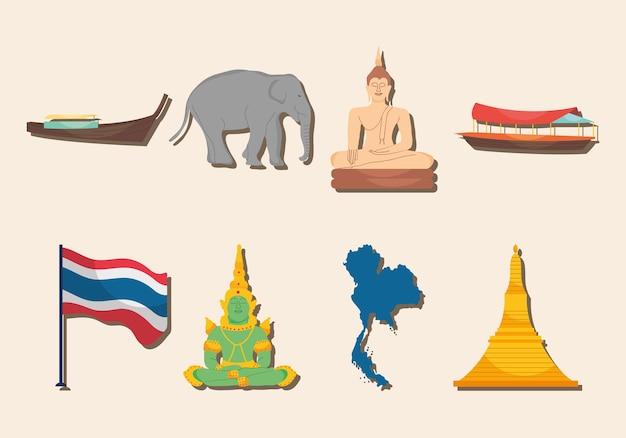태국 기호 아이콘 세트 디자인