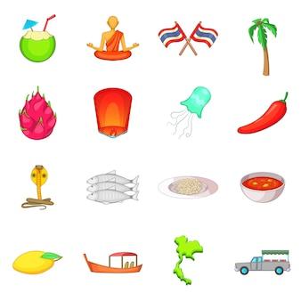 Thailand symbols icons set