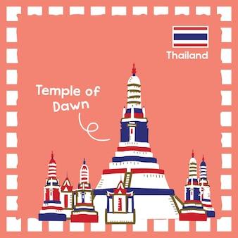 귀여운 스탬프 디자인으로 태국 새벽 랜드마크 그림의 사원