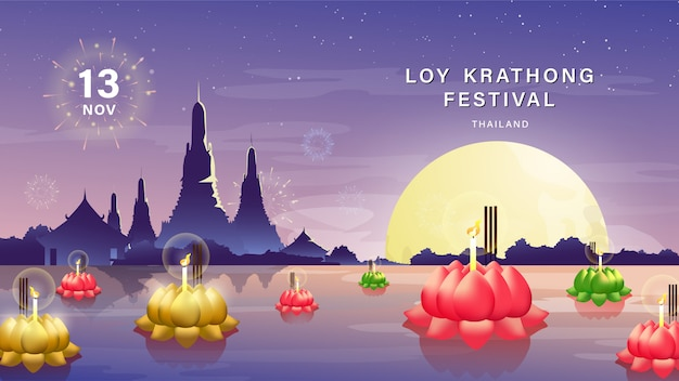 Thailand tradition on beautiful night background with temple reflection and full moon.