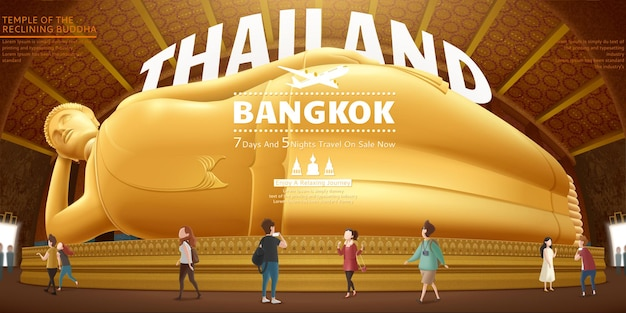 Thailand travel concept design with giant reclining buddha and tourists