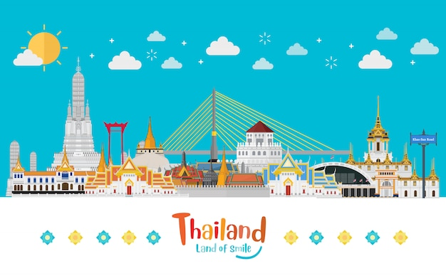 Thailand travel concept the golden palace to visit in thailand in flat style