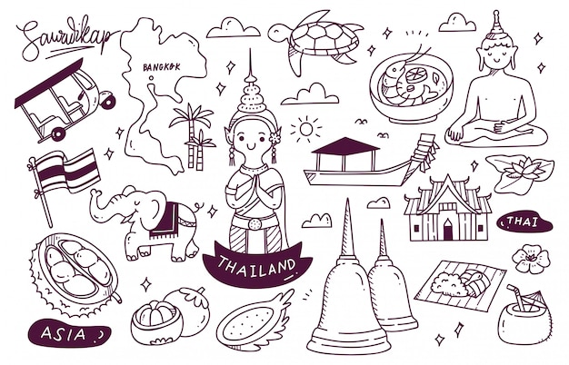 Thailand travel destination doodle