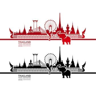 タイ旅行先グランドベクトルイラスト。