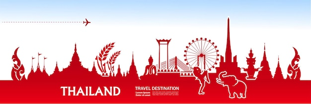 Thailand travel destination grand vector illustration.