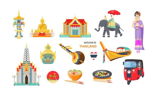 タイの旅行要素セット。伝統的な服、象、仏、ハートの旗のアジアの女性