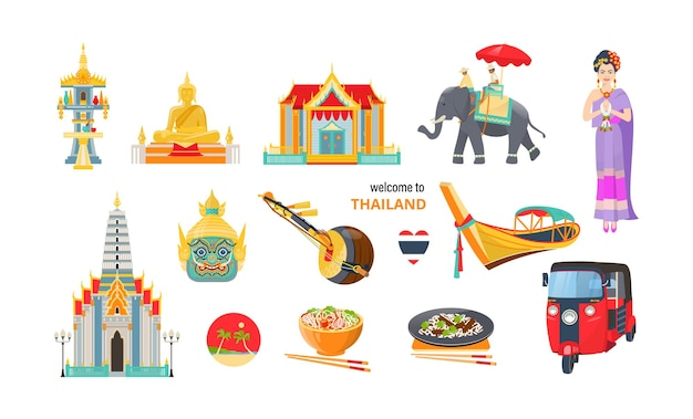 Thailand travel elements set. asian woman in traditional clothes, elephant, buddha, heart flag