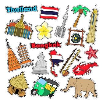 배지, 스티커, 지문에 대한 아키텍처와 태국 여행 요소. 벡터 낙서