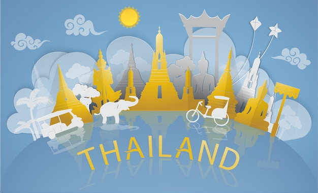 Thailand travel to famous landmarks and tourist attraction of thailand with paper cut style