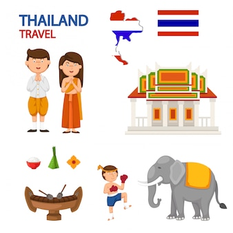 Thailand travel illustration vector