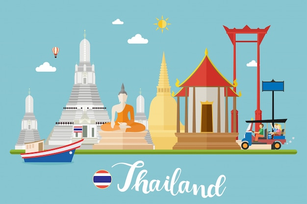 Thailand travel landscapes vector illustration
