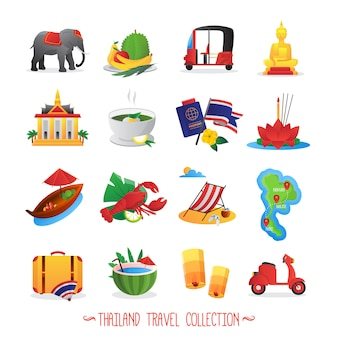 Thailand travel symbols collection