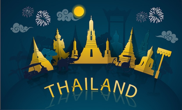 Путешествие по таиланду к знаменитым достопримечательностям и туристическим достопримечательностям таиланда в стиле бумажной резки