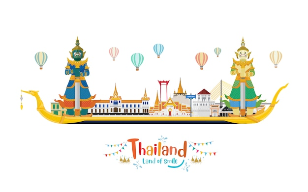 Thailand travel with landmark and travel place and guardian giants on the royal barge suphannahong