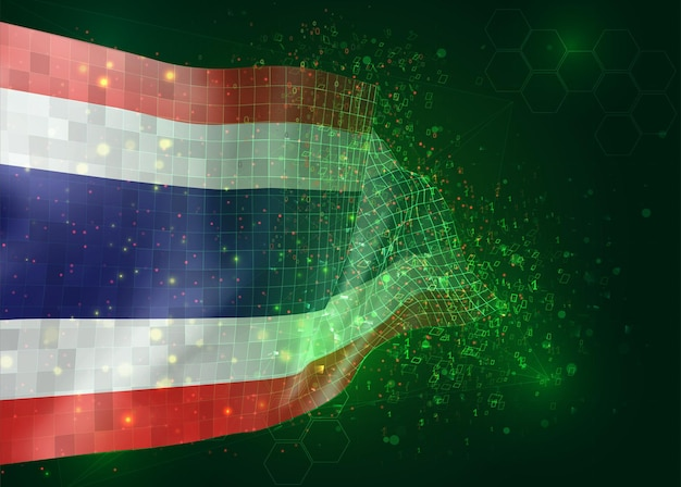 Thailand, on vector 3d flag on green background with polygons and data numbers