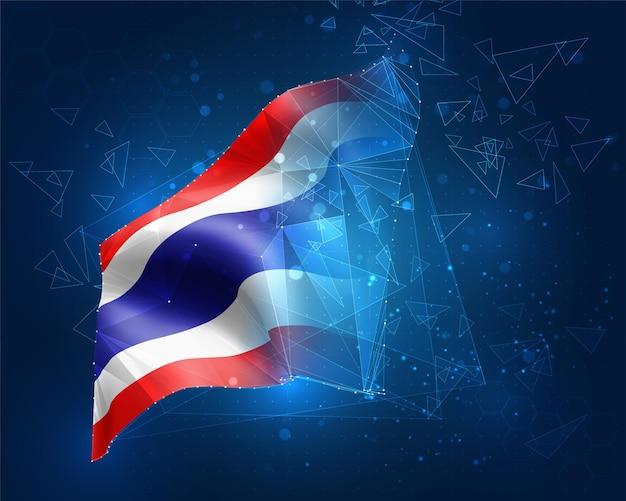 タイ、ベクトルフラグ、青い背景の三角形のポリゴンからの仮想抽象的な3dオブジェクト