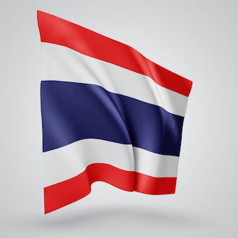 Thailand, vector flag with waves and bends waving in the wind on a white background.