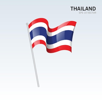 태국 회색에 고립 된 깃발을 흔들며