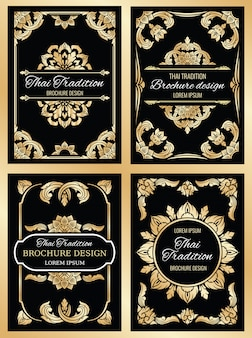 Thailand wedding card set with floral thai frame borders and dividers