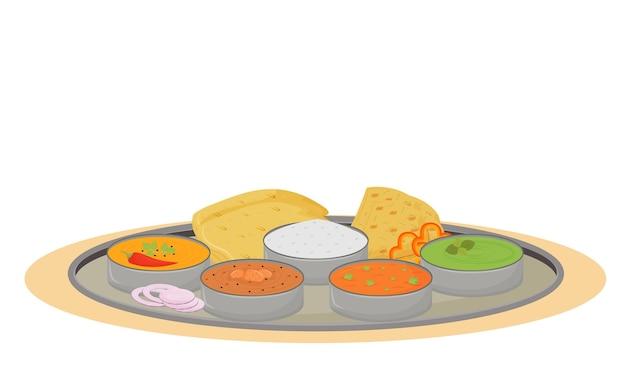 Thali 만화. 인도 전통 요리, 식사 평면 색상 개체와 금속판. 레스토랑 음식 부분 봉사, 흰색 배경에 고립 된 진미와 강철 트레이