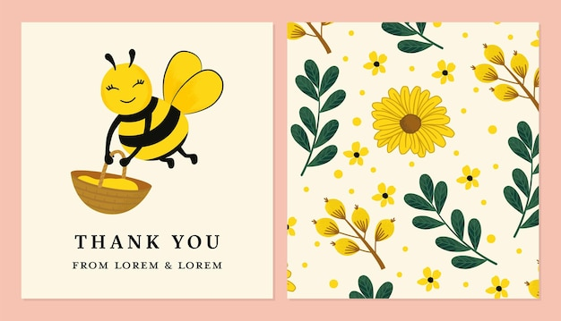 Thank card with honey bee for stickers labels tags and more in vector