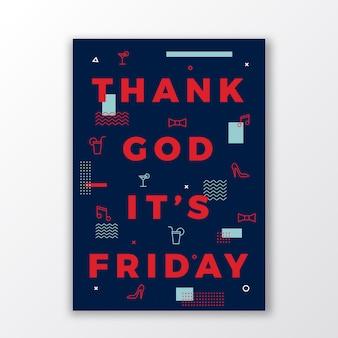 금요일 스위스 스타일 최소 포스터 또는 전단지 하나님 께 감사드립니다.