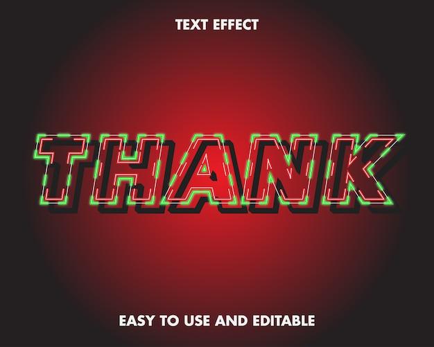 Спасибо текстовый эффект. редактируемый эффект шрифта.