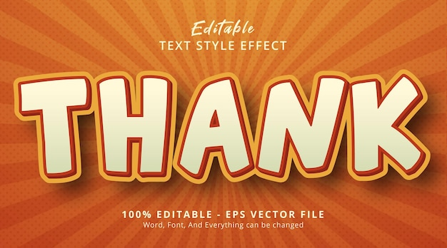 Thank text style effect, editable text effect