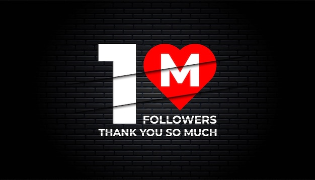 Thank you 1 million followers background template.