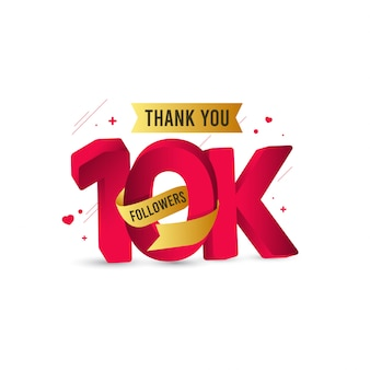 Thank you 10 k followers template design illustration