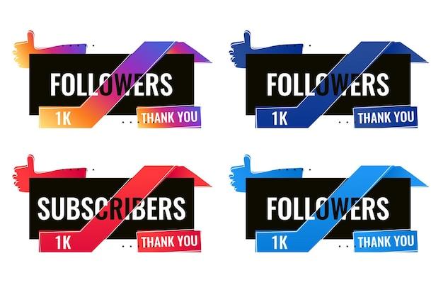 Спасибо 1000 подписчиков и подписчиков баннер в социальных сетях