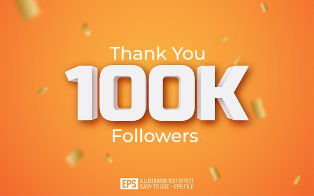 Thank you 100k followers text style template on yellow background
