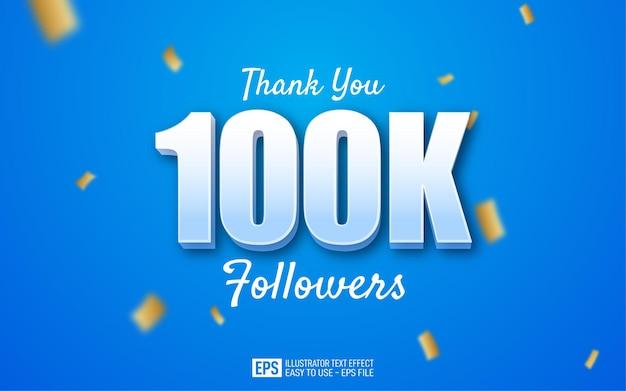 10万人のフォロワーのテキストスタイルテンプレートをありがとう