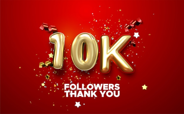Thank you 10k followers banner. thanks followers congratulation card.   illustration for social networks. web user or blogger celebrates