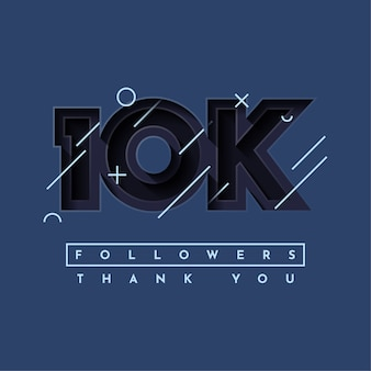 Thank you 10k followers illustration template design