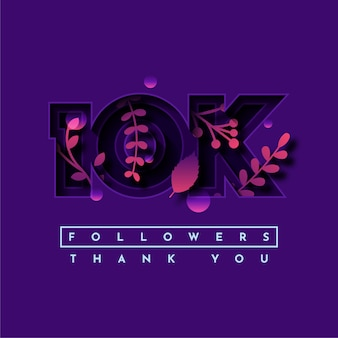 Thank you 10k followers with leaf element illustration template design
